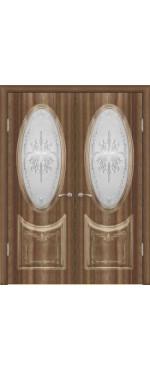 Орех седой-темный остекленная витражная с золотой патиной