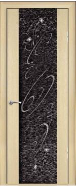 Дверь Люкс 1 с тканью, с рисунком и со стразами