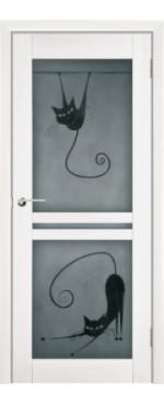 Дверь из массива DOORS-OLA Квадро кошки